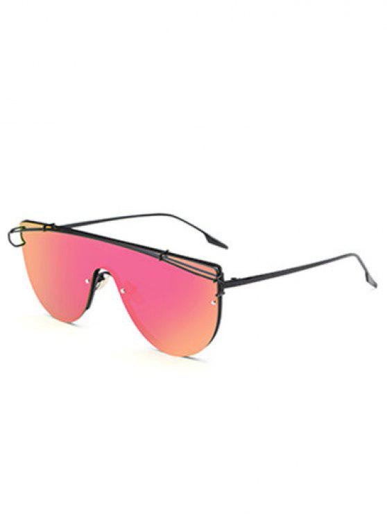 online Cross-Bar Mirrored Sheild Sunglasses - ROSE RED