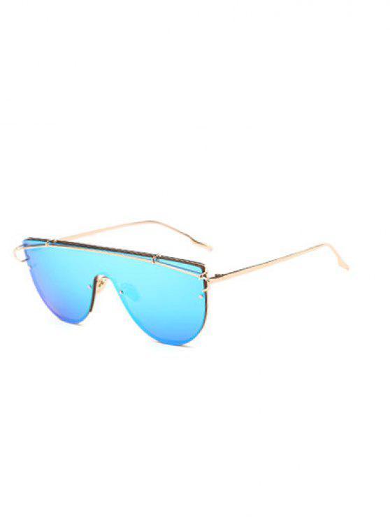 La barra transversal espejadas escudo gafas de sol - Azul Claro