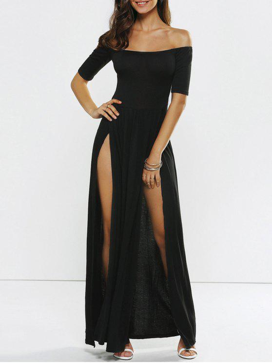 Alto vestido de noche del hombro de hendidura Off - Negro XL