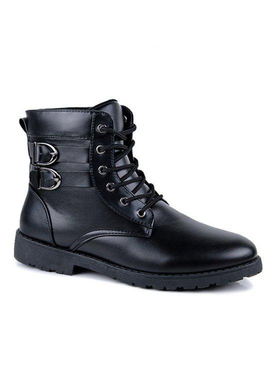 مشبك الدانتيل متابعة الأحذية القتالية - أسود 41