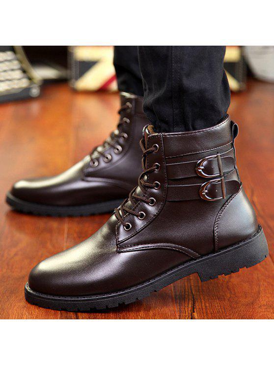 مشبك الدانتيل متابعة الأحذية القتالية - BROWN 41