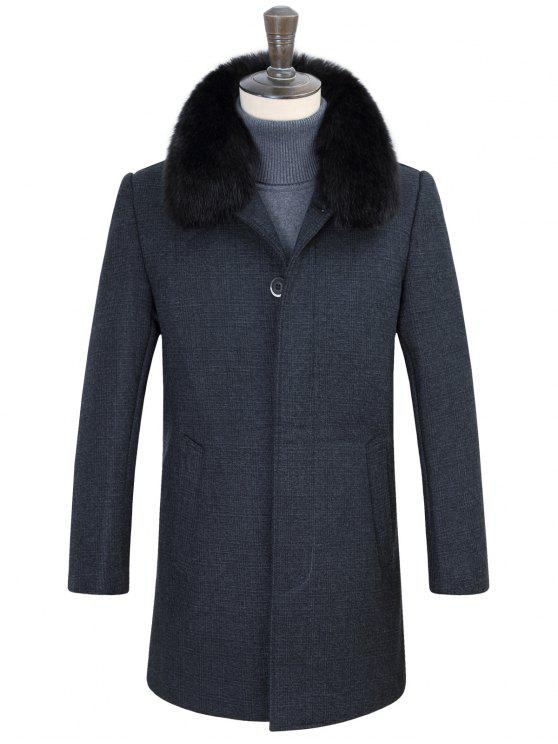 chic Detachable Faux Fur Turn-Down Collar Covered Buttons Vintage Coat - GRAY 3XL