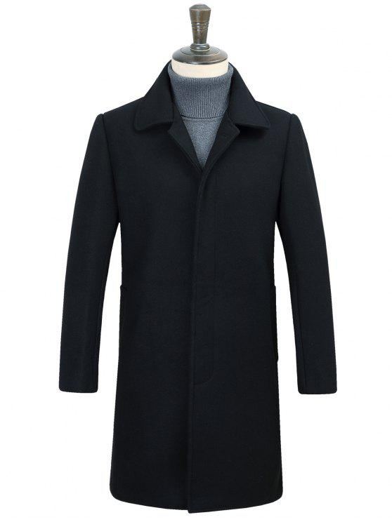 غطت زر لونغلين معطف الصوف - أسود 2XL