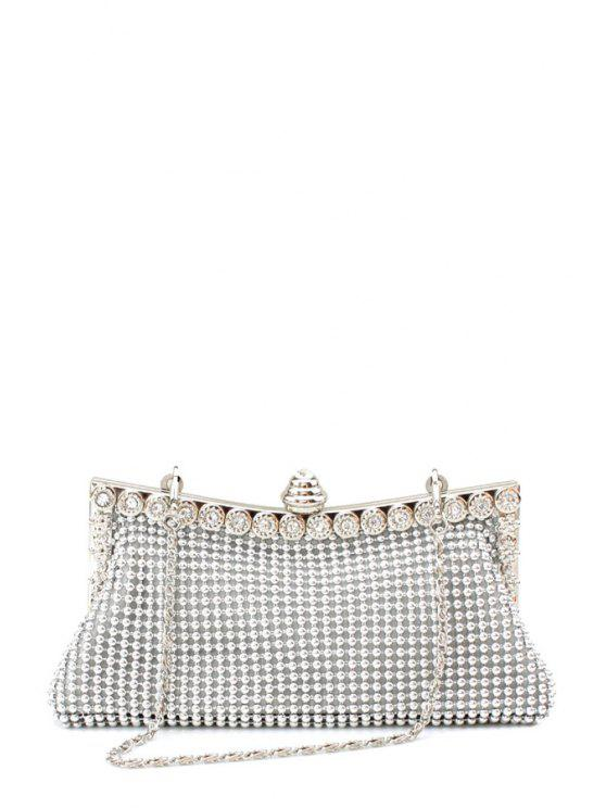 Metal aparado Rhinestone Evening Bag - Prateado