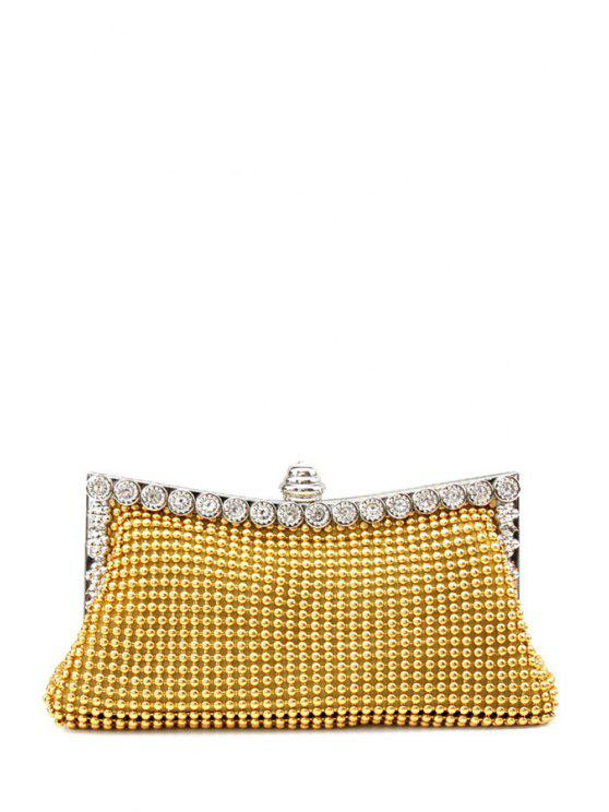 hot Metal Trimmed Rhinestone Evening Bag - GOLDEN