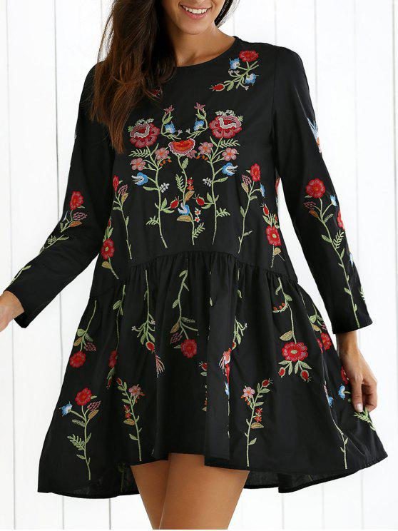 outfit Floral Embroidered Drop Waist Dress - BLACK S