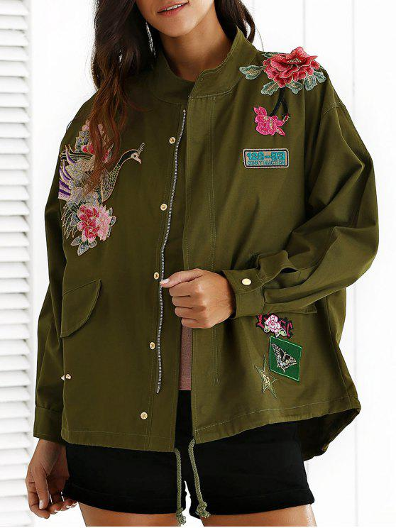 35eae7a44d Embroidered Stand Neck Rivet Patchwork Coat ARMY GREEN