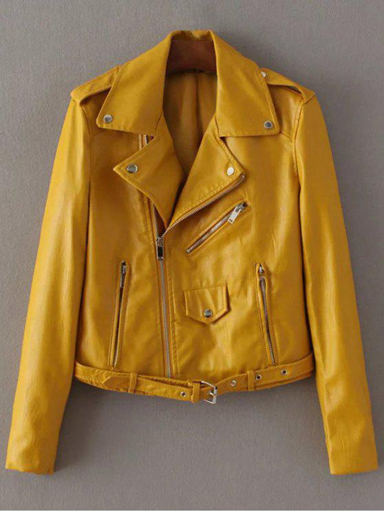 women Lapel Collar Zippers Faux Leather Jacket - YELLOW XL