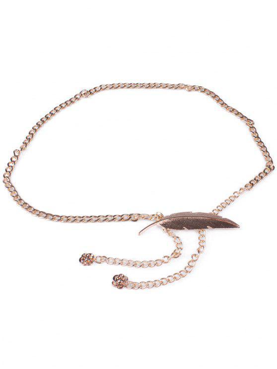 Cadena de la cintura del metal de la pluma - Dorado
