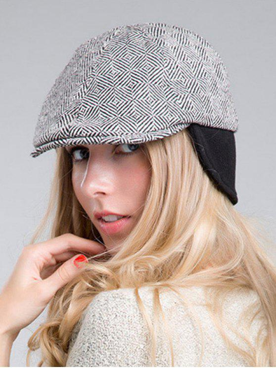 affordable Quadrate Plaid Ivy Hat - BLACK