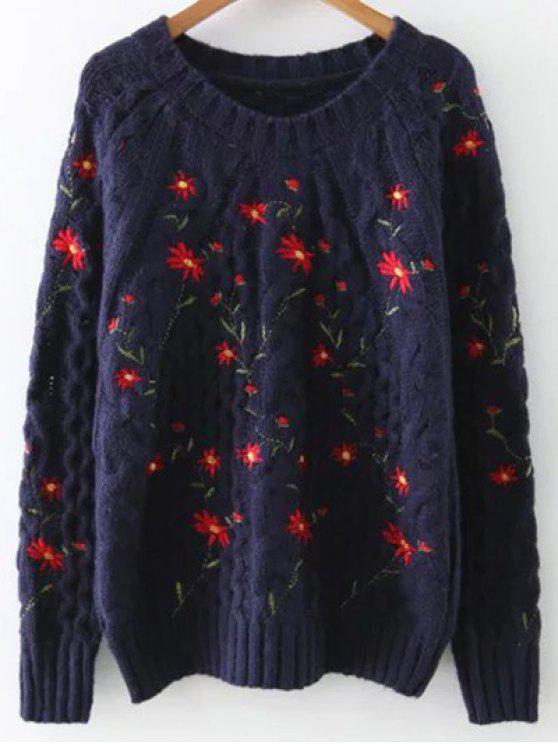 Floral brodé Pull - Cadetblue Taille Unique
