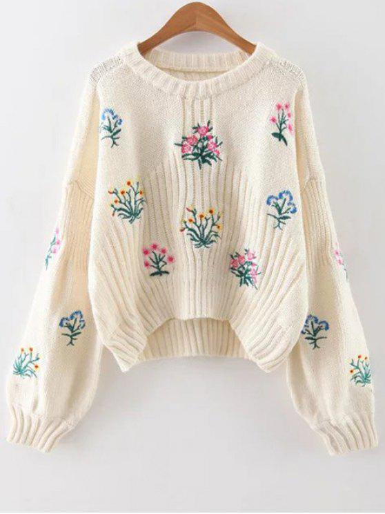 womens Embroidered Chunky Sweater - OFF-WHITE ONE SIZE