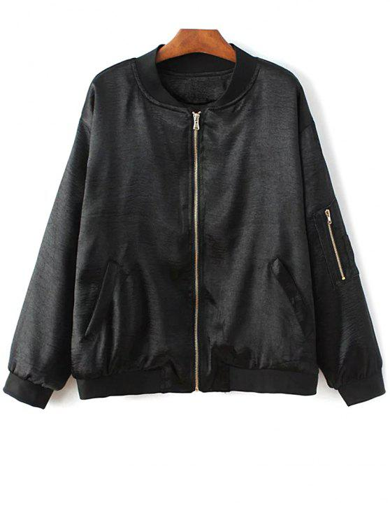 lady Fitted Zipped Bomber Jacket - BLACK M