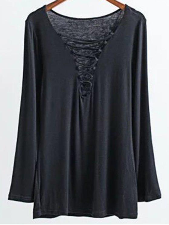 Hasta larga de las mangas del cordón de la camiseta - Negro M