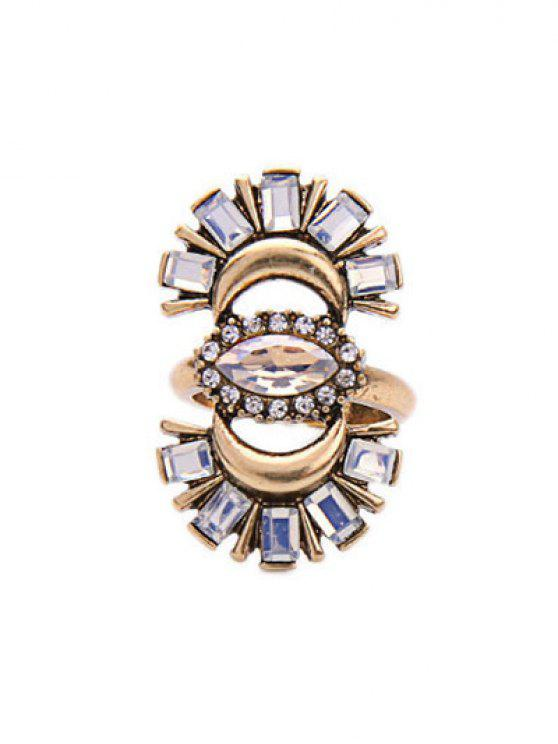 ladies Rhinestone Crescent Ring - GOLDEN ONE-SIZE