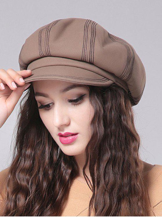 ladies Stripe Design Newsboy Cap - CAMEL