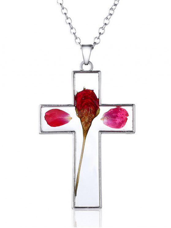 Colgante cruz collar de cristal floral seco - Plata