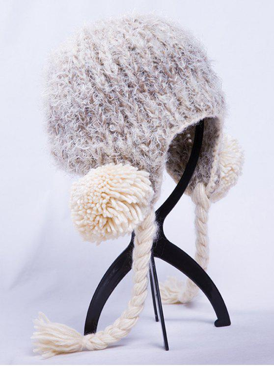 online Woolen Yarn Ball Knitted Beanie - OFF-WHITE