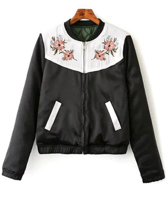 affordable Quilted Embroidered Thermal Jacket - BLACK S
