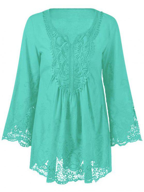 fashion Lace Trim Tunic Blouse - MINT GREEN 3XL