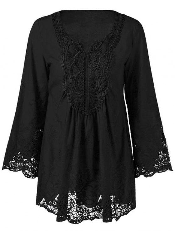 best Lace Trim Tunic Blouse - BLACK XL