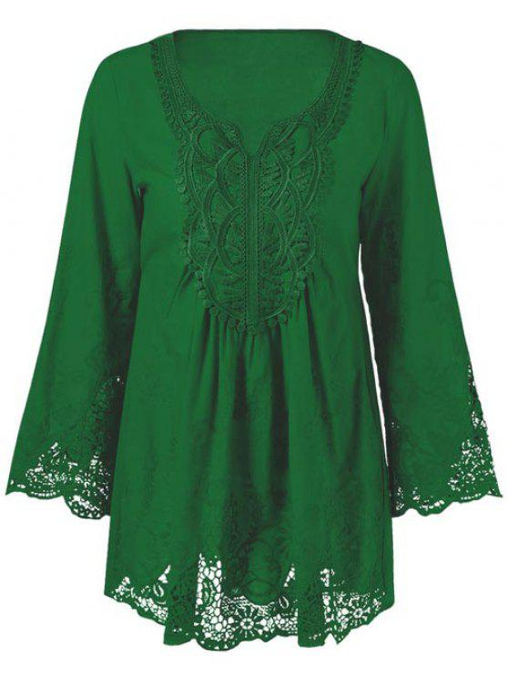 trendy Lace Trim Tunic Blouse - EMERALD 2XL