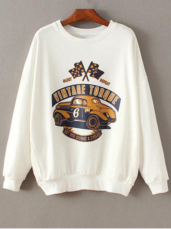 Tropfen Schulter Hülse Sweatshirt - Weiß M