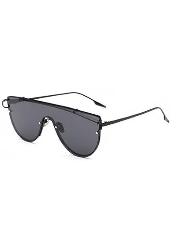 ladies Cross-Bar Sheild Sunglasses - BLACK