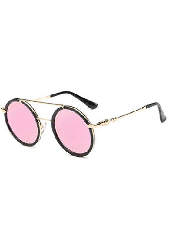 trendy Cross-Bar Mirrored Round Sunglasses - PINK