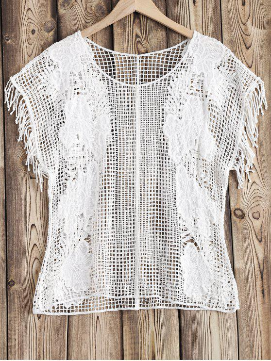 affordable Crochet Beach Cover Up - WHITE ONE SIZE