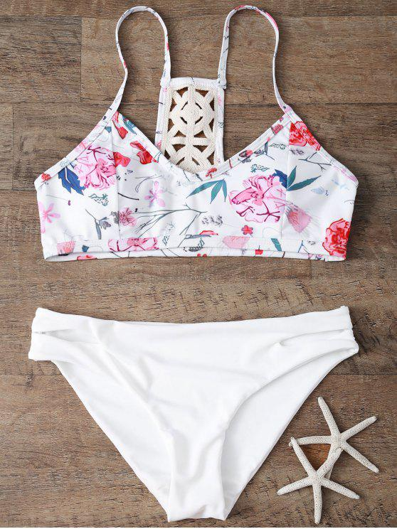 trendy Low Rise Floral Bikini Set - WHITE S