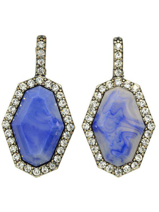 Pendientes de la gema geométrica de imitación de diamantes de imitación - Plata