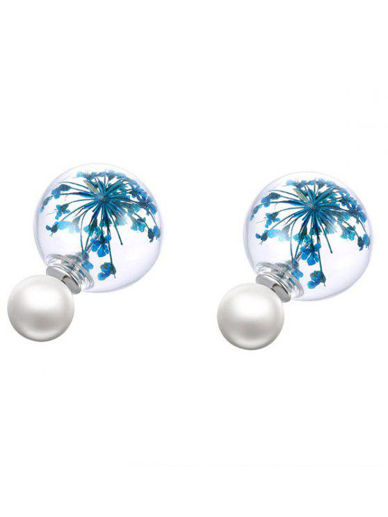 hot Glass Dry Floral Faux Pearl Earrings - BLUE