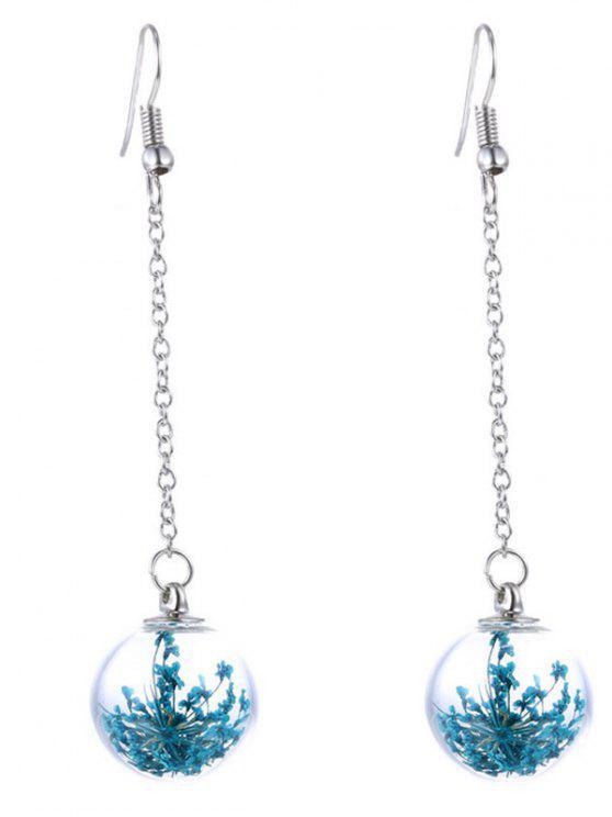Boucles d'oreilles pendentif de boule florale en verre - Bleu