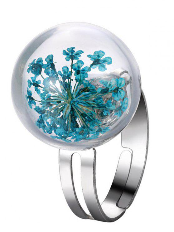 chic Glass Dry Floral Ball Ring - BLUE ONE-SIZE