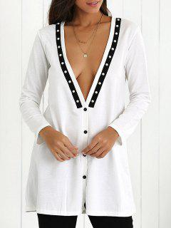 Plunging Neck Button Down Beaded Cardigan - White Xl
