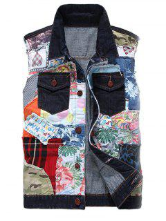 Color Block Patch Design Turn-Down Collar Denim Waistcoat - L