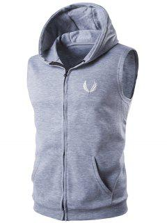 Hooded Embroidery Sleeveless Hoodie Zip-Up Waistcoat - Gray 2xl