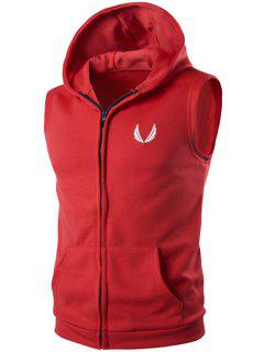 Hooded Embroidery Sleeveless Hoodie Zip-Up Waistcoat - Red M