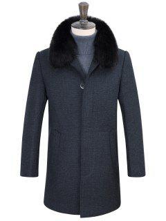 Fausse Fourrure Amovible Col Rabattu Boutons Couverts Manteau Vintage - Gris 3xl