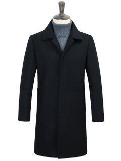 Covered Button Longline Woolen Coat - Black 3xl