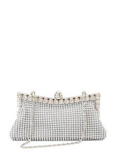Metal Trimmed Rhinestone Evening Bag - Silver