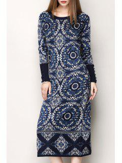 Jacquard Style D'impression Ethnique Robe Pull - Bleu S
