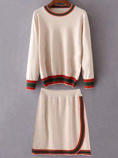 Rayures Col Rond Pull Avec Mini-jupe - Blanc Cassé