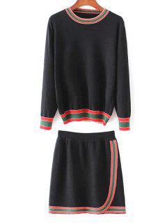 Rayures Col Rond Pull Avec Mini-jupe - Noir