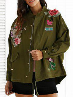 Embroidered Stand Neck Rivet Patchwork Coat - Army Green S