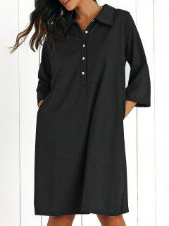 Shirt Collar Loose Fitting 3/4 Sleeve Dress - Black