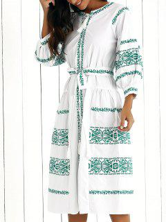 Embroidered Lantern Sleeve V Neck Belted Dress - White