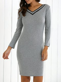V-Neck Bodycon Sweater Dress - Gray M