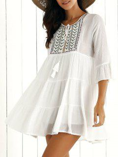 Brodé Robe Col Rond Manches Flare - [